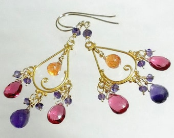 Multicolor Earrings, Orange Purple Pink Chandelier Earrings, Multicolor Chandelier Earrings, Gold