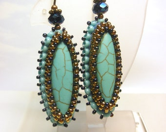 Turquoise Blue Crystal and Seed Beads Dangle Antique Brass French Hook Earwire Earrings