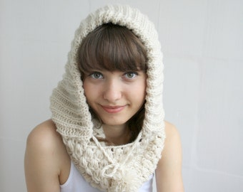 Cream Ivory Wool Hooded  Chunky Infinity LOOP Scarf  Cowl Mothers Day gift Under USD75