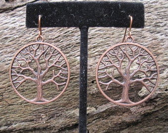 Oak tree,Tree of Life, Auburn,Toomer's Corner, antiqued copper metal alloy earrings