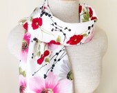 Ready to Ship - Poppies Daises and Dogwoods Floral Scarf