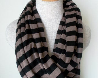 READY TO SHIP - Striped Infinity Scarf - Black and Mocha - Jersey Knit