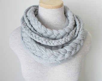 Braided Jersey Scarf - Grey