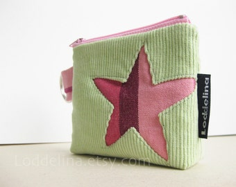 star COIN purse in mint green corduroy with pink purple star applique