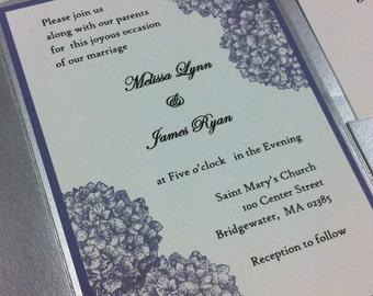 Hydrangea Wedding invitation set with pocket fold, spring wedding invitation,