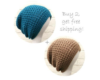 Boyfriend beanies, mens large baggy hats, two slouchy hats, FREE shipping.