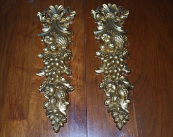 Vintage pair of SYROCO goldtone wall plaques - fruit swags - MidCentury - Hollywood Regency