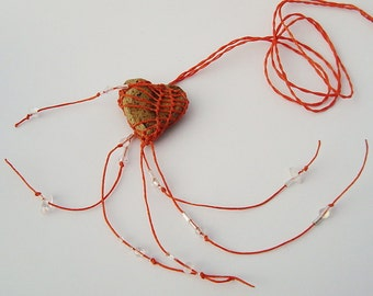 My Heart's On Fire,  Heart Shaped Faux Stone Necklace Pottery and Fiber, Orange