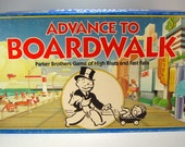 Monopoly Advance to Boardwalk Board Game, Parker Brothers Games, Family Game Night, Altered Art, Mixed Media, Crafting