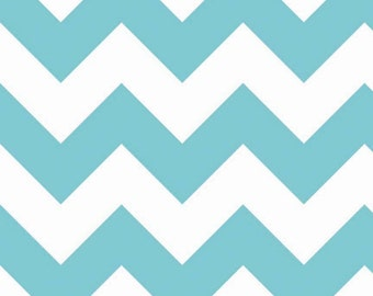 SALE - Riley Blake - Large Chevron in Aqua
