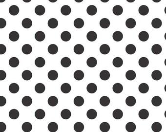 SALE - Riley Blake Medium Dots in Black (black dots on white) - Fat Quarter