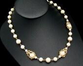 Trifari Necklace, Pearl Necklace, Vintage Wedding Necklace, Wedding Jewelry, Vintage Wedding, White Pearl Necklace, Vintage Trifari