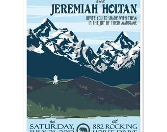 Vintage Montana Mountain Invitation and Reply Postcard set - SAMPLE