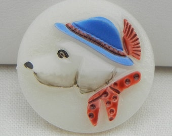 Dog in Hat Czech glass Button