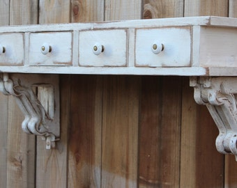 "Floating Wall Shelf - Entryway - Desk - Drawers - Shabby - Beach Cottage Chic - French Country - Reclaimed Barn Wood - 33"" x 15"" x 9.25"