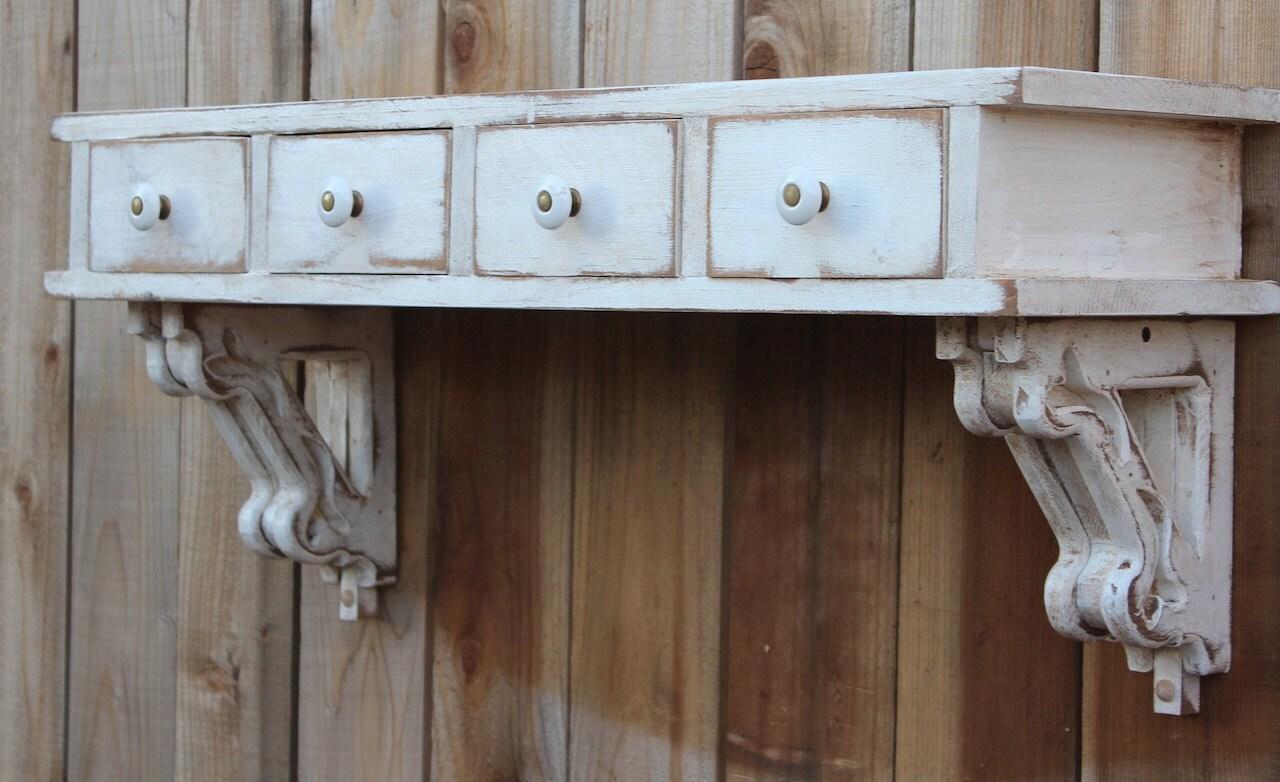 Floating Wall Shelf Entryway Desk Drawers Shabby