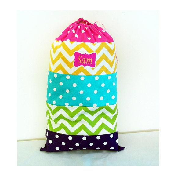 SUMMER CAMP BAG, Bright Fun Colors, 20 x 26 Drawstring Duffle, Rainbow Colors, Chevron and Polka Dots