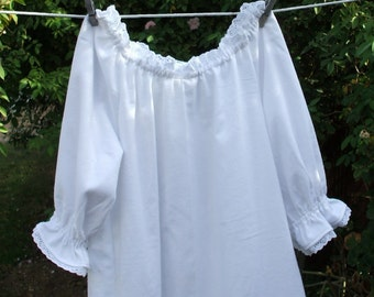 Prairie Nightgown Womens XSm - XLg Cotton Flannel Eyelet Lace Custom Made
