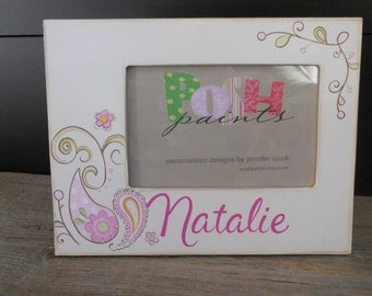 perfect in paisley, brights, hand painted picture frame, displays 4x6 photo, personalize it