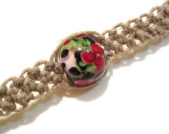 Cherry Choker Hemp Necklace featuring a Kim Miles cherry lampwork bead