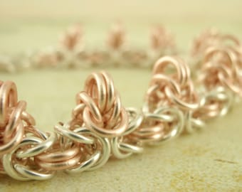 SALE Spiky Byzantine Bracelet Kit - Non Tarnish Silver Plate and Rose Gold Colored - The Beauty of Chainmaille