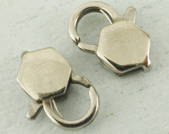 1 Stainless Steel Lobster Clasp - Unique Hexagon Style - Sturdy and Shiny Clasps - Medium 12mm X 8mm - 100% Guarantee