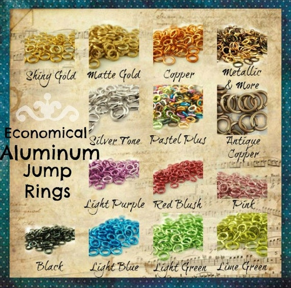 CLEARANCE SALE 100 Aluminum Jump Rings 20 gauge 5mm OD Economical -Pastel or Metallic