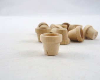 "Wooden flower pot, 5/8"" miniature wooden flower pot, 1.59 cm flower pot, unfinished DIY set of 12"