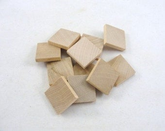 """wooden square one inch 1"""", one inch square tile 3/16"""" thick set of 12"""