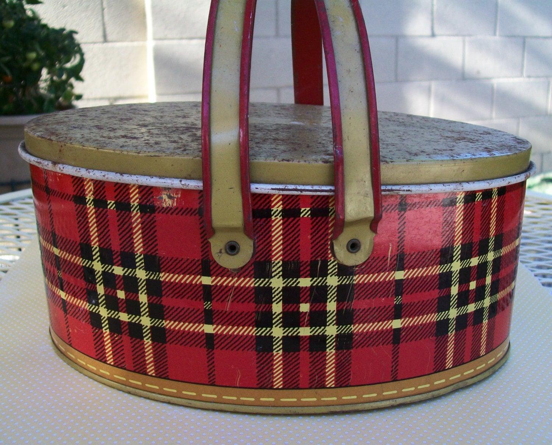 Vintage Metal Lunch Box Red Plaid Plaid Metal Lunchbox