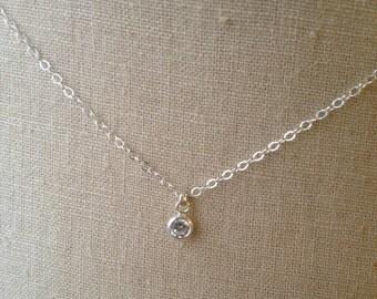 Solitaire CZ Necklace, Solitaire Diamond Necklace, Bezel Set Diamond, Bridesmaid Necklace, Bridal Necklace
