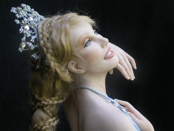 """Hand Sculpted, Original One of a Kind (OOAK) polymer clay ballerina figure titled """"Aquamarine"""" with real gem stones."""