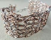 Crochet bracelet - Sterling Silver wire, Copper, Black wire, crochet wire jewelry, lace crochet, multicolor cuff bracelet (B10)