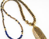 Inca Gold Bullion Inspired Pendant - Etched Pendant - African Bronze Beaded Necklace - One of a Kind Tribal Accessory