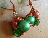 Fern Green & Copper Earrings