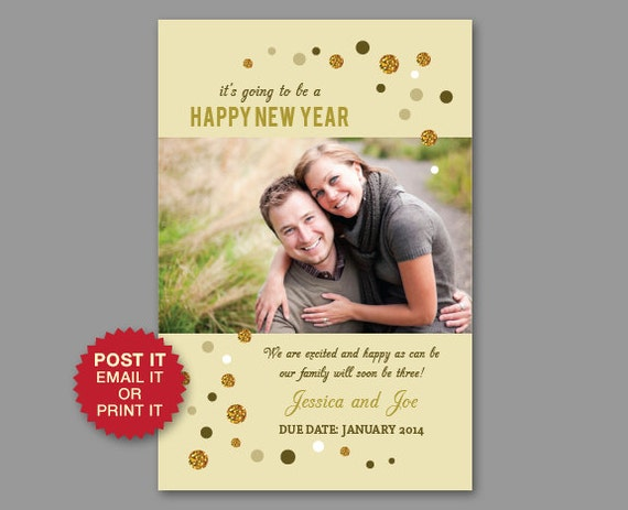 Items similar to New Year Baby Photo Pregnancy Announcement – New Years Birth Announcements
