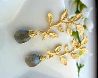 Blue Flash Labradorite 16kt Golden Leaf Branch Post Earrings
