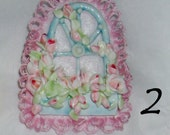 Cottage Rose Trellis on Embroidered Felt Brooch with Ribbon for Ornament by CreatingCottage