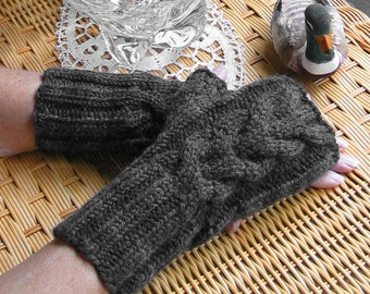 Dark Grey Charcoal Fingerless Texting Gloves -Chunky Cable Wool Acrylic Blend, almost BLACK