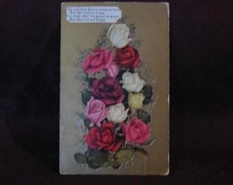 Vintage Postcard, Vintage 1909 Postcard with Roses, Postcard with Roses, Vintage Greeting Card, Early 1900's Postcard, Floral Postcard