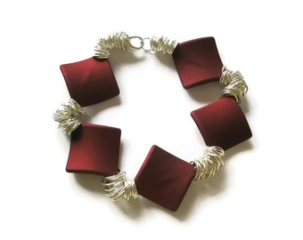 Fashion bracelet Red soft touch Square beads statement jewelry Silver chain arm candy by FruttiTuttiBeadCandy