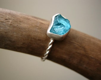 Rough - Raw- Apatite Ring - Sterling Silver handmade - Custom size, Choose your STONE and your band Style