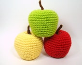 Crochet Apples Pretend Fruit Food, Plush Toy Set of Three, MADE TO ORDER, Red Delicious, Golden Delicious, Granny Smith, Kitchen Decor
