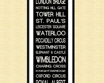 London Bus Roll - Tube Subway Sign Bus Scroll Poster Print