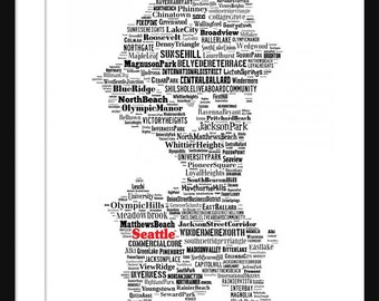 Seattle Map Typography Map Poster Print