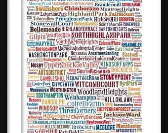 Richmond Map - Typography Neighborhoods of Richmond Print