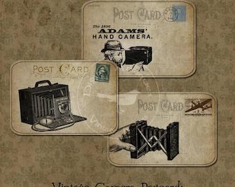 Vintage Camera Postcard Tags Sepia Instant Digital Download