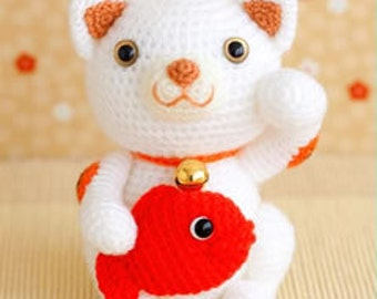 Maneki-neko, the Lucky Cat Crochet Amigurumi doll - Japanese craft kit (white and black cats to choose from)