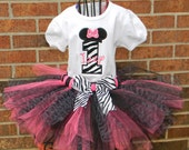 Adorable Mouse Ears Pink and Zebra Birthday Tutu Set