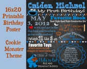 First Birthday Poster - Cookie Monster Theme